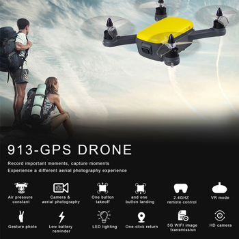 FUNSKY 913 GPS 5G WiFi FPV with 1080P HD Camera Altitude Hold Mode Brushless RC Drone Quadcopter RTF