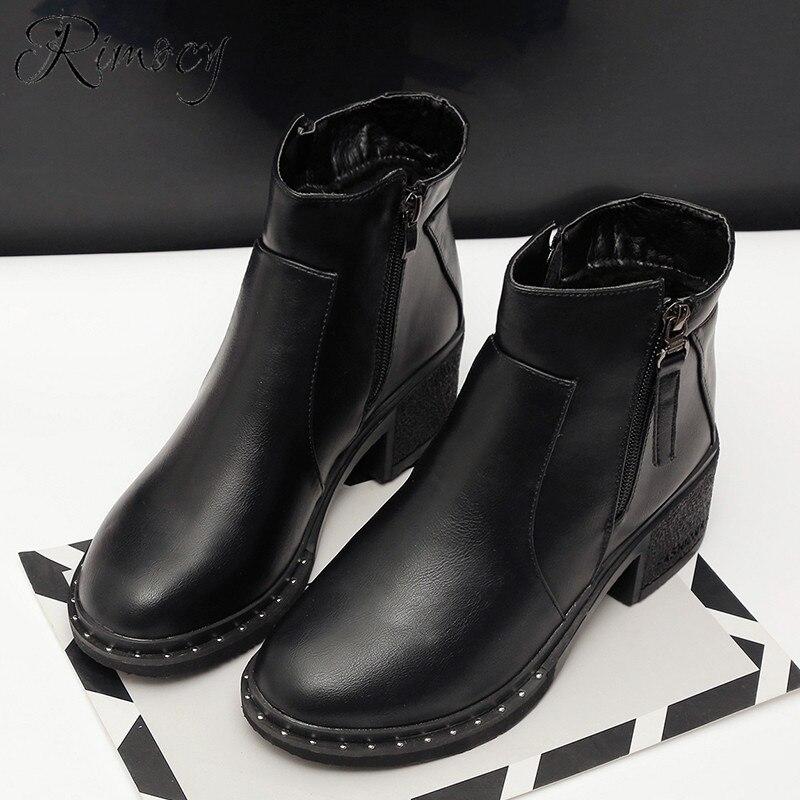 8e383e30f Negro Tacones Tobillo Botas Cuero Nuevo De Para Mujer 2019 Botines Rimocy  Suave Cuadrados Zapatos Lado Cremallera dEqw4y7