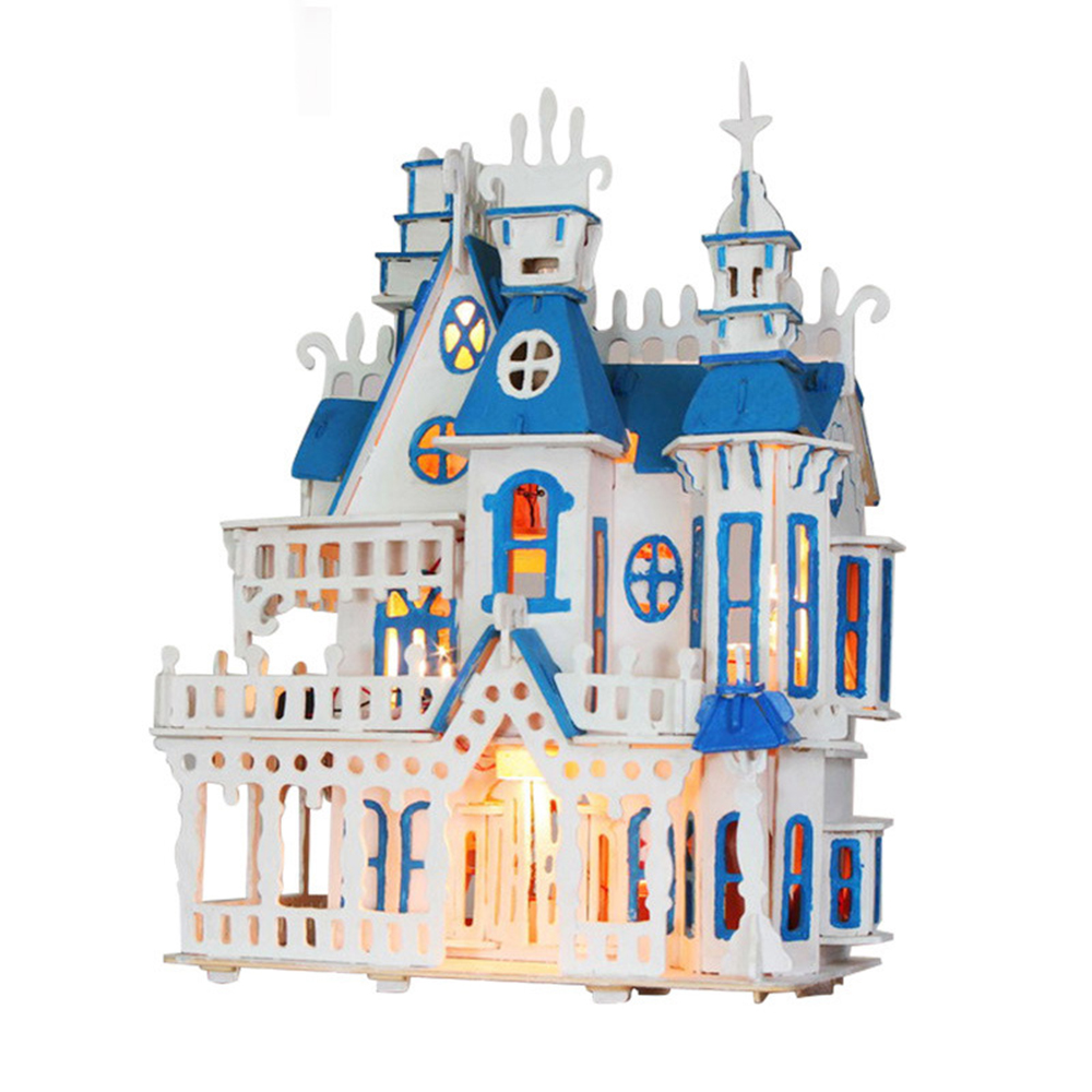 DIY Miniature Room Wooden Doll House Dream Villa with Furniture LED Lights Dollhouse Toys for Children