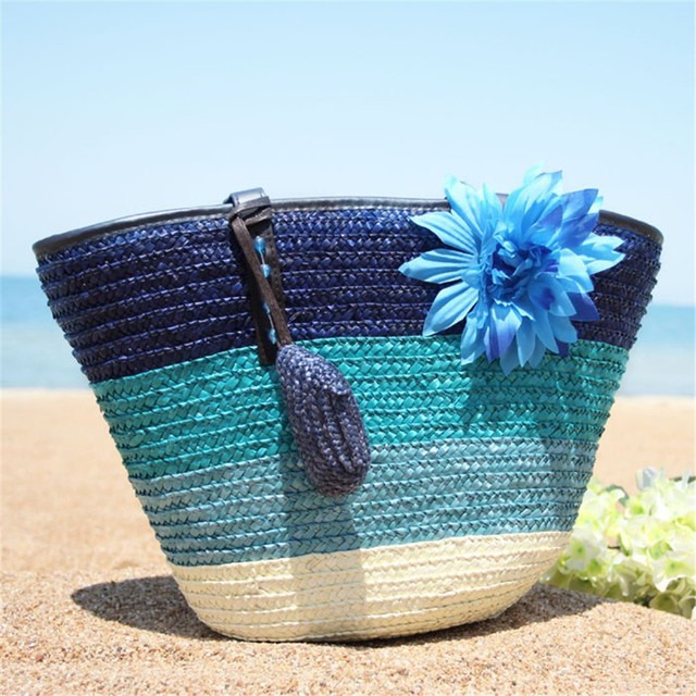 Beach Straw Woven Knitted Bag Outdoor Storage Bag Handbag Colorful Striped BeachTote Bag Picnic Bag