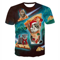 New Hot Christmas Cat Eating Pizza Printed Men Women 3d T-shirt Double Side Print Funny Galaxy Space T shirts Drop Shipping