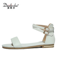 Daidiesha Plus Size 34-43 Cross-tied strap Sandals Elagant style buty damskie Ankle strap Genuine Leather sapatos feminino