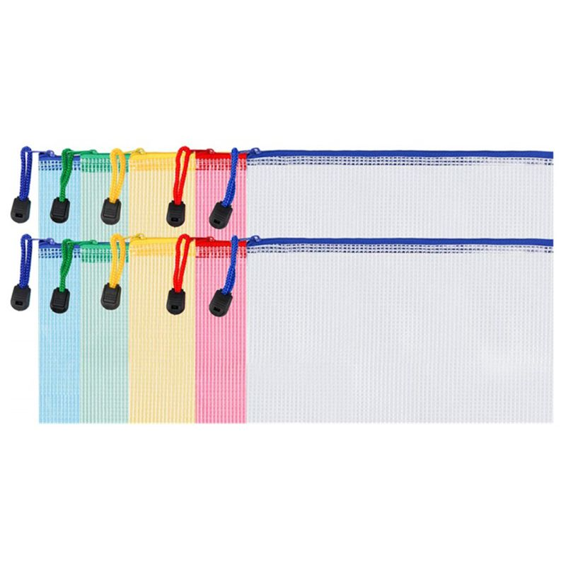 10 Pieces Zipper File Pouch Grid Document Bag Multipurpose Storage Pouch Bags For Offices Supplies Travel Accessories, 5 Colors