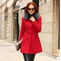 Новый 2016 мода зима куртка женщин Сгущает длинные шерстяные пальто Корейской Тонкий куртка Съемный меховой воротник Бесплатная доставка