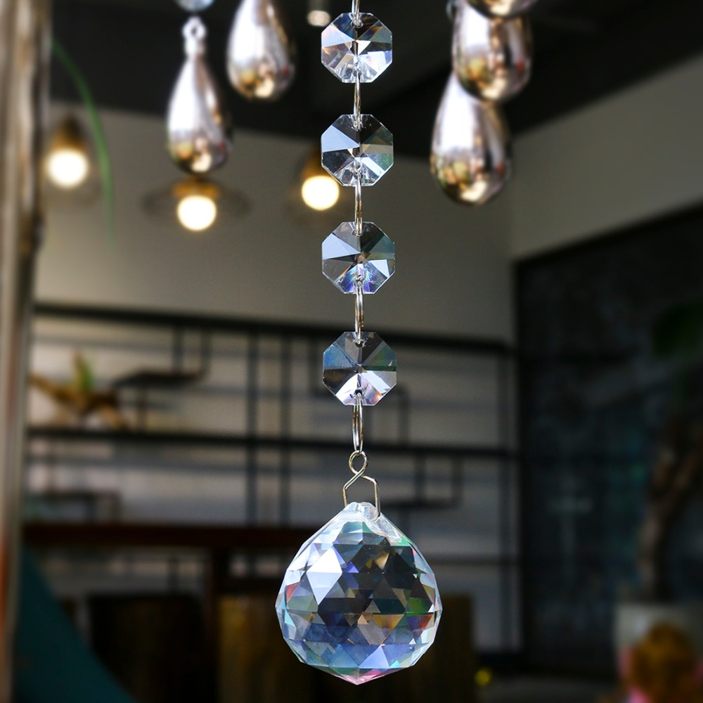 H&D Crystal Suncatcher Octagon Beads Rainbow Maker Hanging Chandelier Ball Prisms Drop 30mm Home Wedding Decoration Accessories