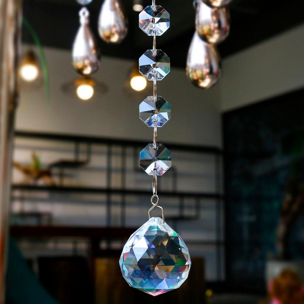 H&D Crystal Suncatcher Octagon Beads Rainbow Maker Hanging Chandelier Ball Prisms Drop 30mm Home Wedding Decoration Accessories