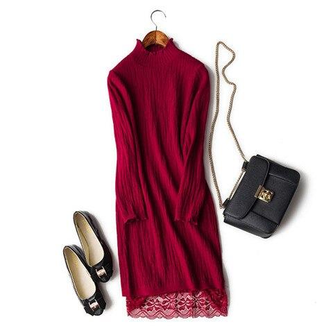fine wool thread knit women fashion spliced lace long pullover sweater dress claret 6color M/XL