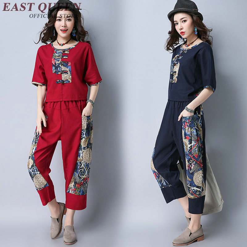 Retro style two piece set top and pants summer pantsuit women elegant pant suits ethnic vintage