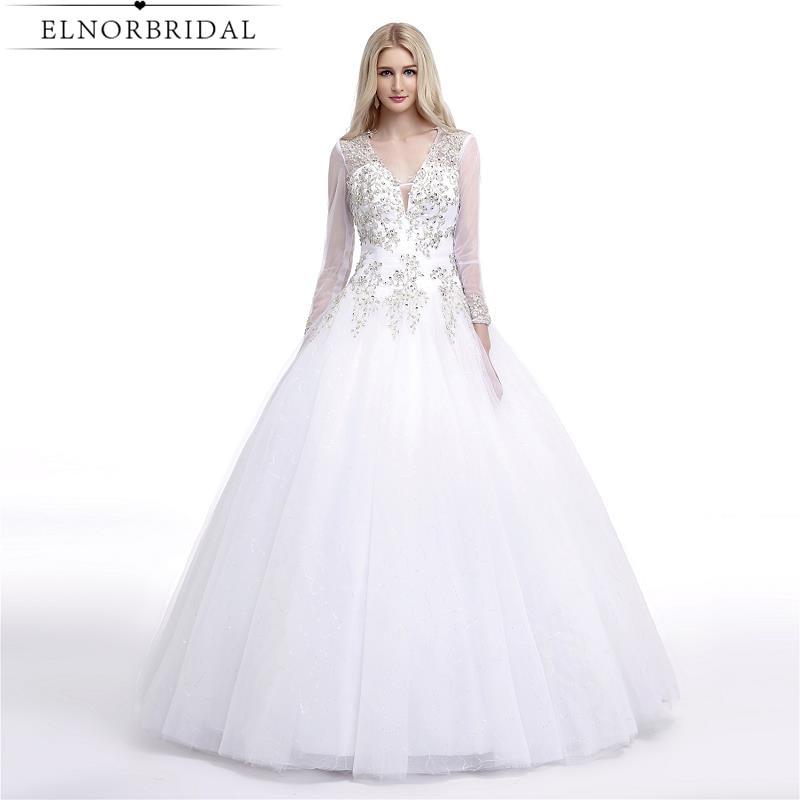 Poročne obleke s kroglicami Poročne obleke z dolgimi rokavi 2019 Robe De Mariee Odprte nazaj odkrito poročne obleke, ročno izdelane iz Kitajske