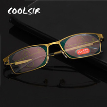 COOLSIR New Women Anti-Blu-ray Smart Progressive Reading Glasses Men Multifocal Far Sight Diopter Reader