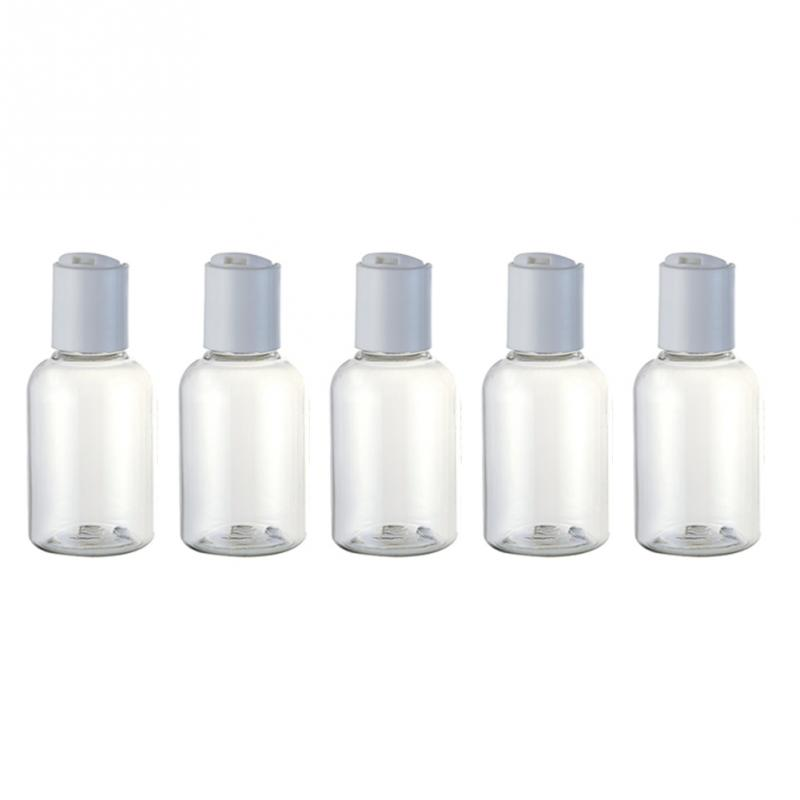 Image 2 - 5/12 pcs Portable 50ml cream lotion cosmetic container travel kits empty small transparent plastic bottle with disc cap-in Refillable Bottles from Beauty & Health