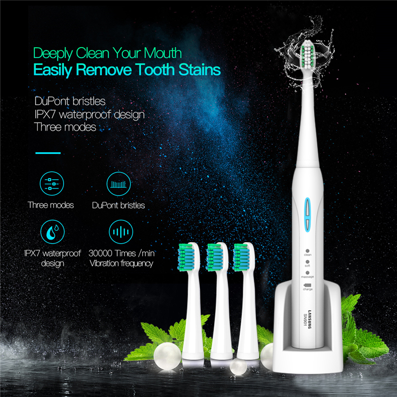 LANSUNG Sonic Electric Toothbrush Ultrasonic toothbrush oral hygiene sonic toothbrushes electric tooth brush SN901 dental care 5-in Electric Toothbrushes from Home Appliances