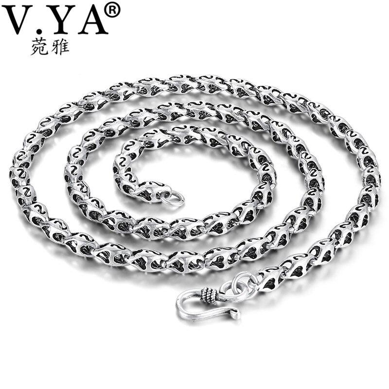 V. YA 5mm Épais Chaîne 925 Sterling Argent Mâle Colliers Chaînes pour Hommes S Lettre Rétro Thai Argent Bijoux D'anniversaire cadeau