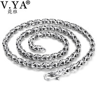V.YA 5mm Thick Chain 925 Sterling Silver Male Necklaces Chains for Men S Letter Retro Thai Silver Jewelry Birthday Gift