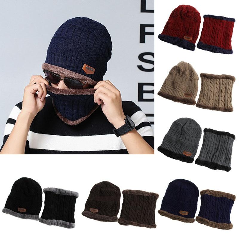 Men Women Camping Hat Beanie Baggy Warm Winter Wool Fleece Ski Cap + Neckerchief
