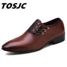 TOSJC New Arrival Mänskläder Skor Svart Classic Point Toe Oxford För Män Mode Män Business Party Shoes Stor Storlek 38-48