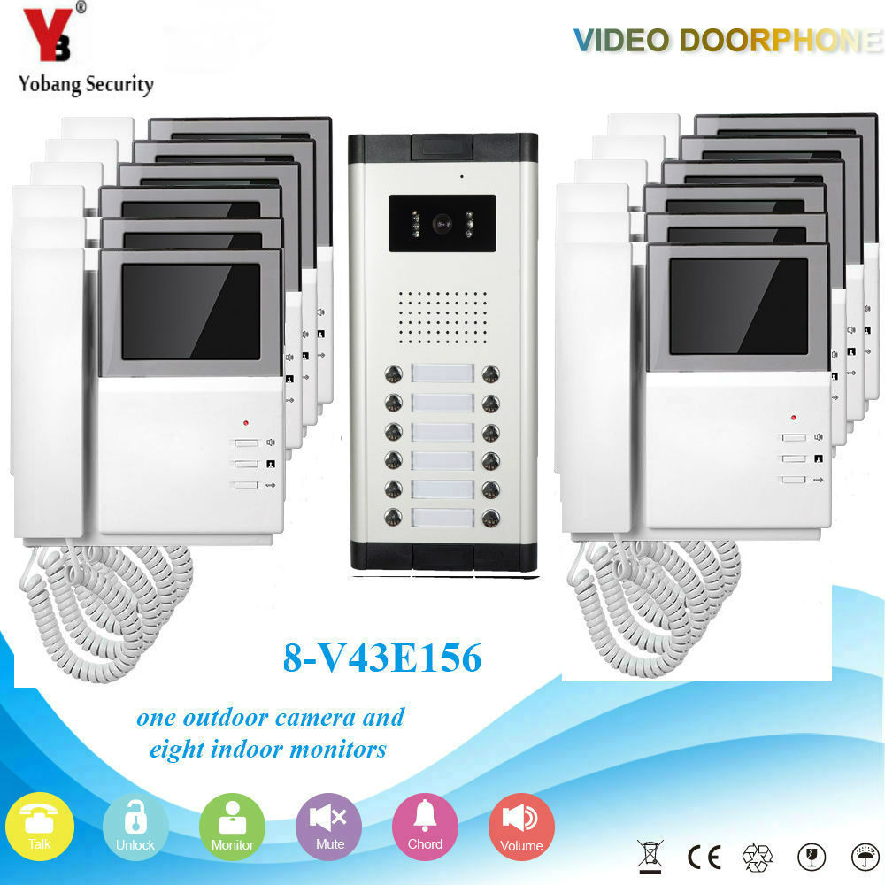 YobangSecurity 4.3 Inch Villa Video Door Phone Doorbell Intercom Entry System Kit Night Vision With Handset For 12Unit Apartment 7 inch screen indoor unit wired video intercom doorbell villa unlocking access control rain with night vision