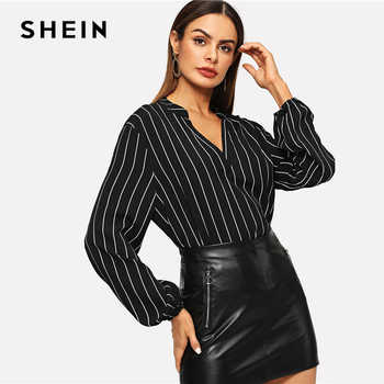 SHEIN Office Ladies V-Cut Neck Striped Long Sleeve Blouse Shirts Autumn Workwear Casual Bishop Sleeve Women Tops And Blouses - DISCOUNT ITEM  40% OFF All Category