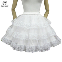 2015 New Women Summer Solid Sweet Ball Gown 3 Layers Skirt Lace White Lolita Skirt Elegant
