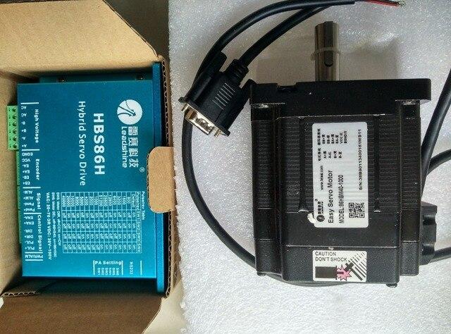 Nema34 4nm 572oz in leadshine 하이브리드 서보 폐 루프 스테핑 모터 드라이브 키트 2 상 86mm hbs86h + 86hsm45 e1