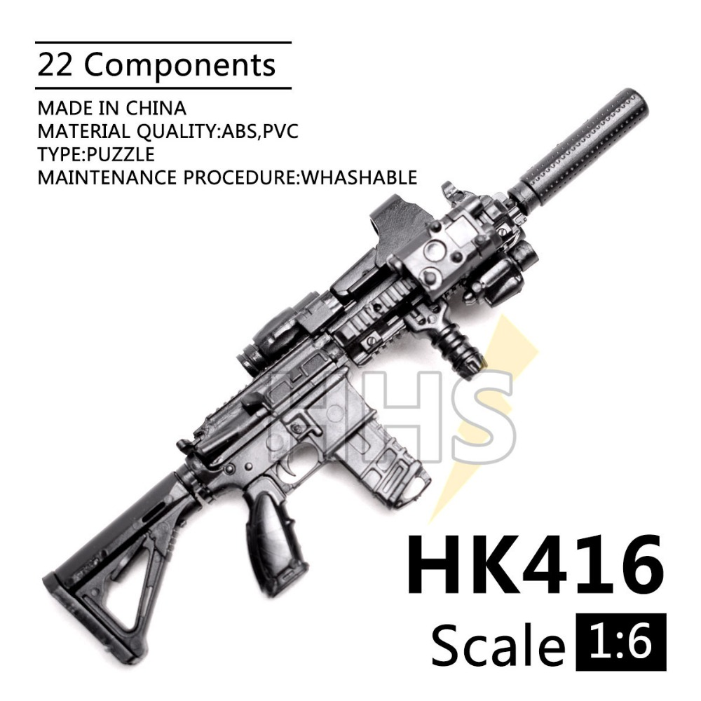 1:6 1/6 Scale Assemble Action Figures Rifle HK416 Model Gun 1/100 Soldier Parts & Components Can Use For Bandai Gundam Model Toy image
