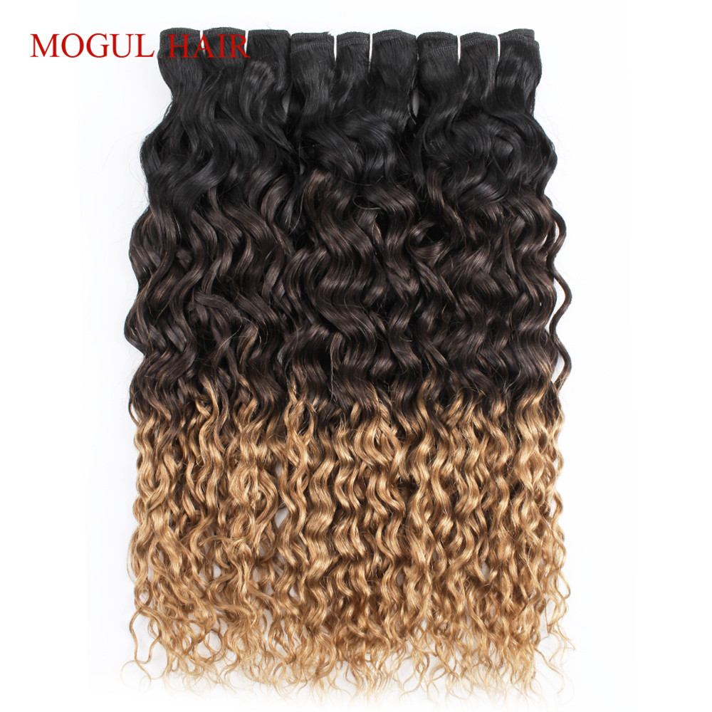 Mogul Hair Brazilian Water Wave Hair Weave Bundles Color 1B 4 27 Ombre Brown Honey Blonde Remy Human Hair Extension 12-24 Inch
