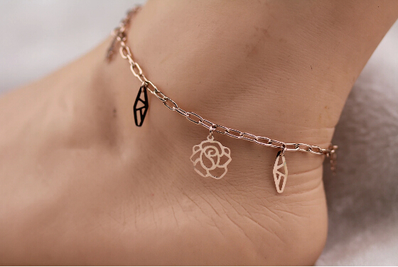 Top quality wedding foot adjust chain Love Rose crystal Titanium Steel  Rose Gold Women Barefoot Sandals Anklet,S068B