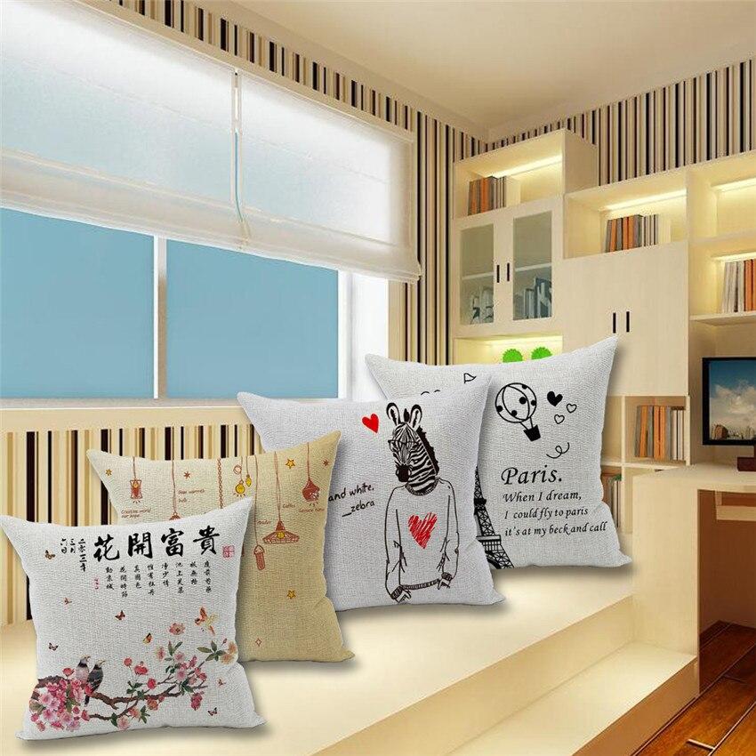 ⑧Zebra Printed 45x45cm/17.7x17.7'' Linen cotton Cushion Paris