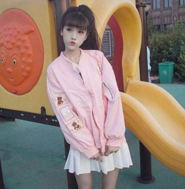 Japanese soft sister women preppy style cute cartoon bear embroidery jacket long sleeve loose korean style lovely design autumn