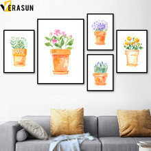 Watercolor Potted Flower Green Plant Wall Art Canvas Painting Nordic Posters And Prints Pictures For Living Room Home Decor
