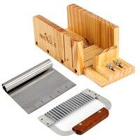 Adjustable Wooden Loaf Soap Cutter Hardwood Handle Stainless Crinkle Cutter Rolling Handle 6 Inch Tick Mark