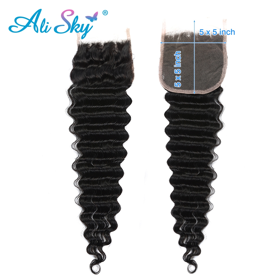 Alisky Hair 5X5 Deep Wave Lace Closure Free Part With Baby Hair Swiss Lace Brazilian Human