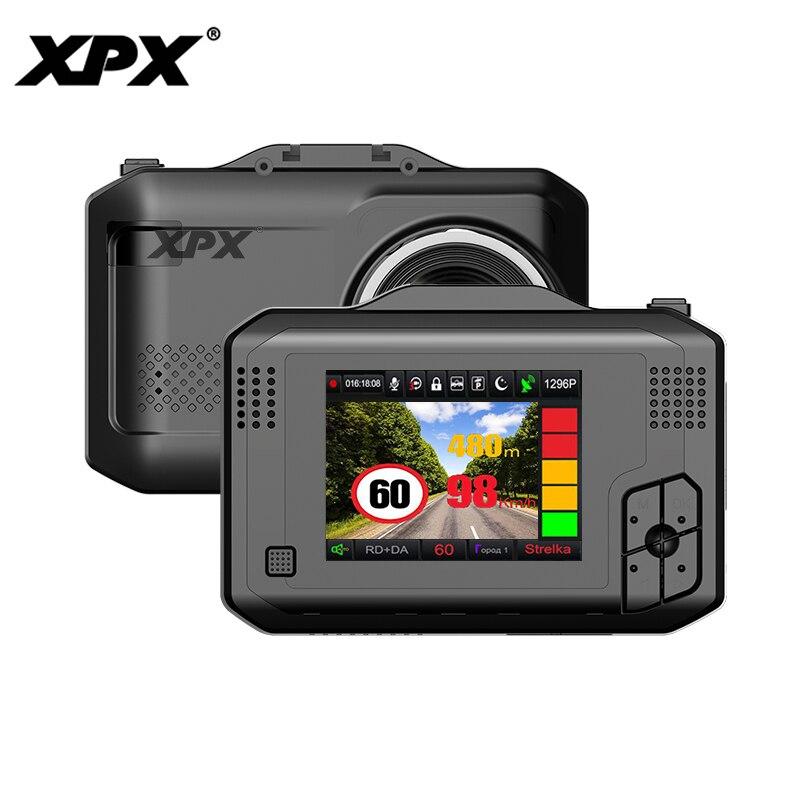 Voiture dvr XPX G575-STR Dash cam Voiture DVR 3 dans 1 GPS Radar Ambarella A12 Voiture caméra 1296 p SpeedCam geature détection dashcam DVR