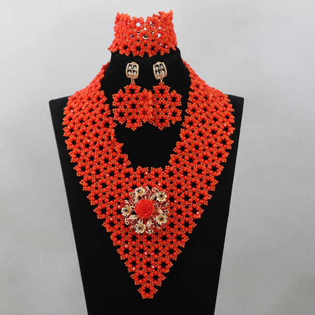 Orange Crystal Beads Jewelry Sets African Wedding Jewelry Sets Trendy Nigerian Wedding V-Type Beads Sets Free ShippingABL970Orange Crystal Beads Jewelry Sets African Wedding Jewelry Sets Trendy Nigerian Wedding V-Type Beads Sets Free ShippingABL970