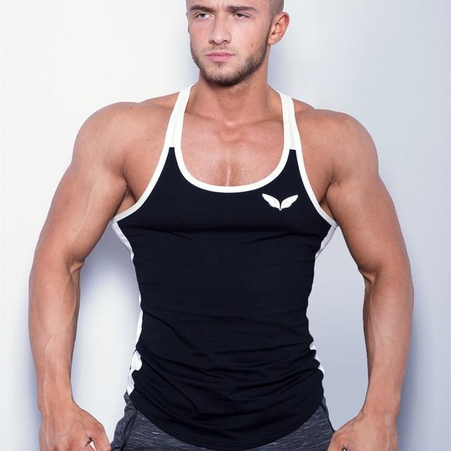 210e5a752d31a Sweat Vest Sport Running Men Gym Bodybuilding Tanktop Joggers Fitness  Singlets Sleeveless Shirts Cotton Muscle Stringer Vest Top