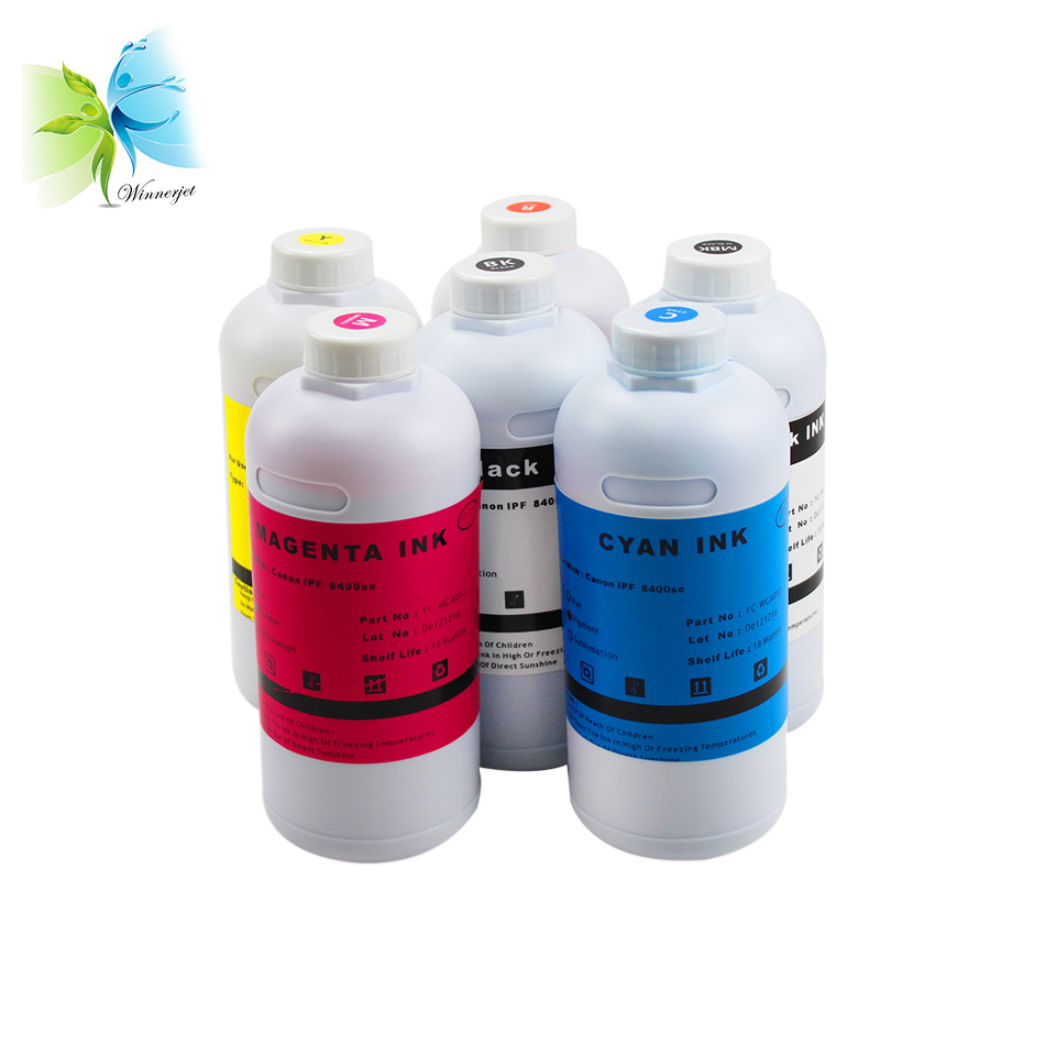 Winnerjet 1000ML per bottle 6 colors dye ink for Canon iPF 8400se printer high quality ink PFI 706 PFI 306 in Ink Refill Kits from Computer Office
