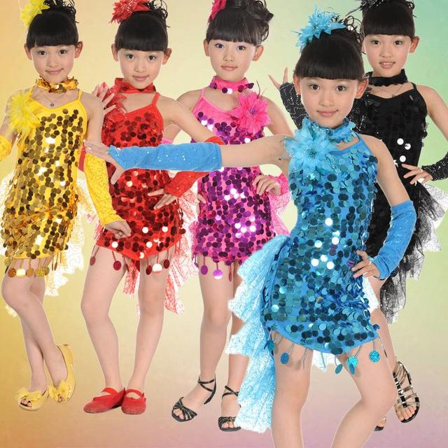 b9db3fb1a51d Children gril costume Latin dance clothes Cocktail Sequin flower Dance  Costumes Samba Dress Latina Child Kids Girls Latin Dress-in Latin from  Novelty ...