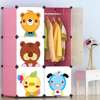 Lightweight Foldable Cartoon Wardrobe Plastic Closet For Kid Baby Wardrobe Cupboard Dust proof Storage Cabinet 76*47*111cm