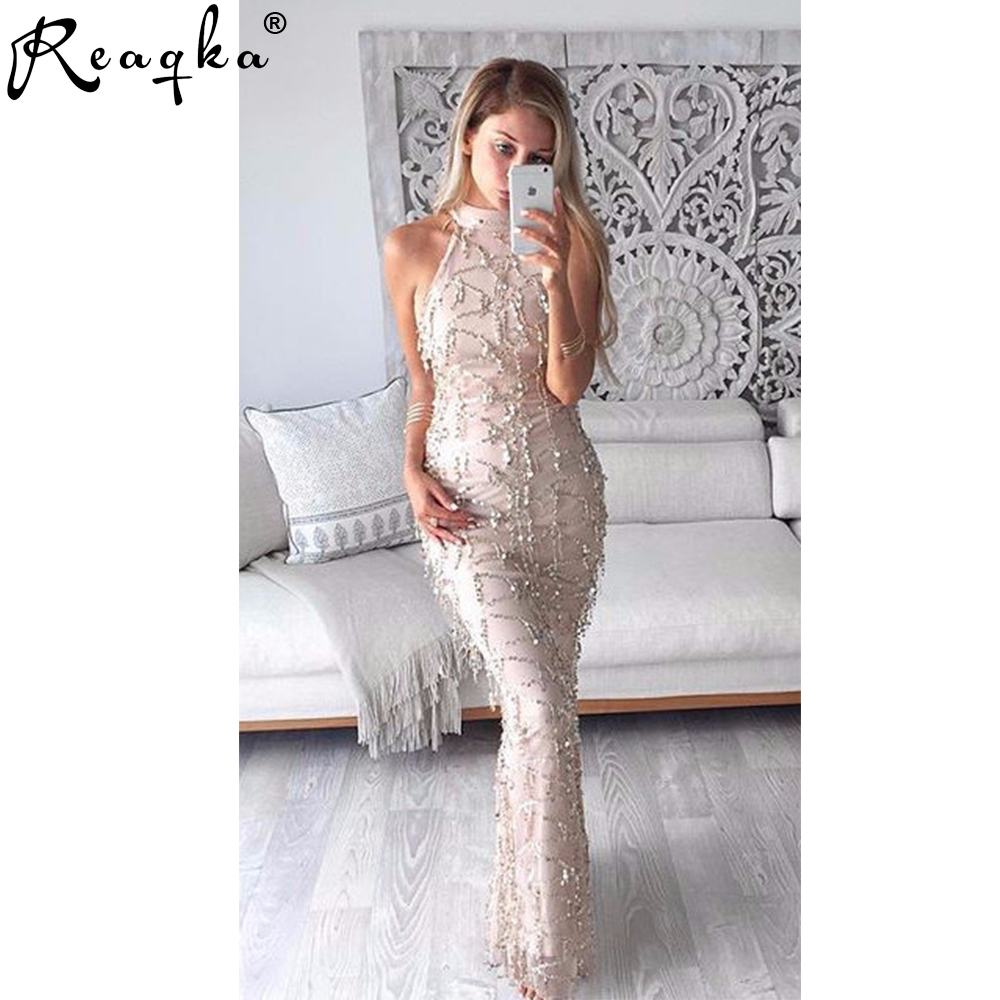 Reaqka Elegant sequin tassel maxi mermaid <font><b>dress</b></font> Women <font><b>evening</b></font> party summer <font><b>dress</b></font> <font><b>2018</b></font> <font><b>sexy</b></font> mesh long <font><b>dress</b></font> sequined vestidos image