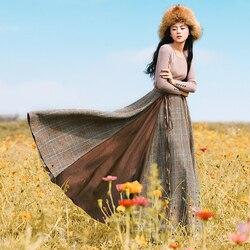 Mujeres Otoño Invierno Vintage elegante Falda larga todo-fósforo Plaid Tassel lana Patchwork Falda larga Maxi falda grande péndulo busto