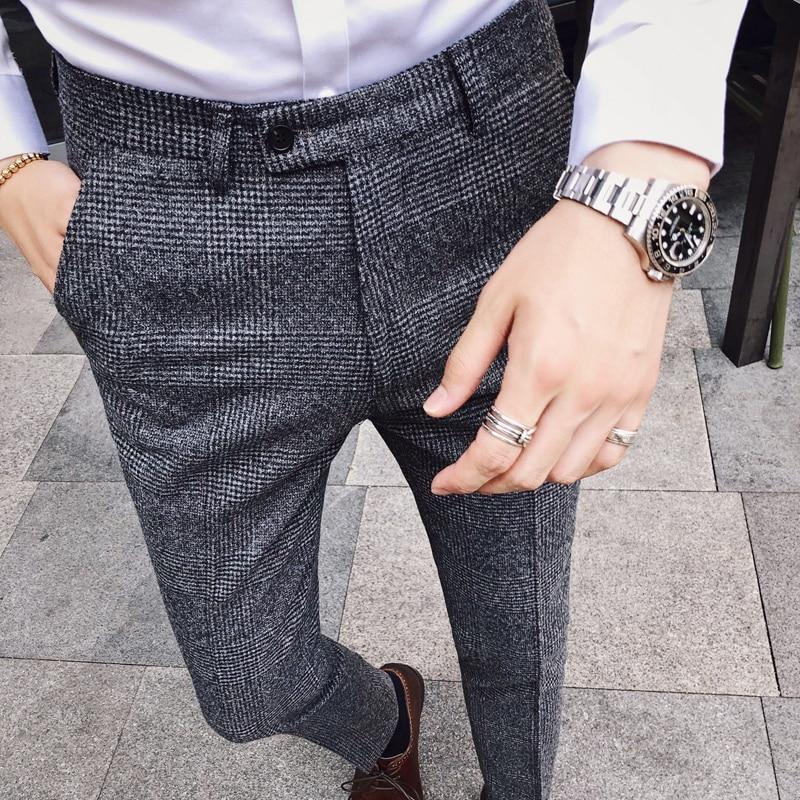 Trousers Slim Fit Formal Pants For Men British Style Dress Pants Mens 2019 Suit Pants Pantalones Hombre Mens Perfume Masculino