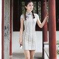 2017 New Striped Chinese Female Traditional Qipao Dress Lady Cotton Linen Cheongsam Summer Sexy Mini Dress S M L XL XXL 2610