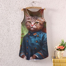 Spring summer style new 2017 cat printing lady fashion women sleeveless round neck T shirt stylish