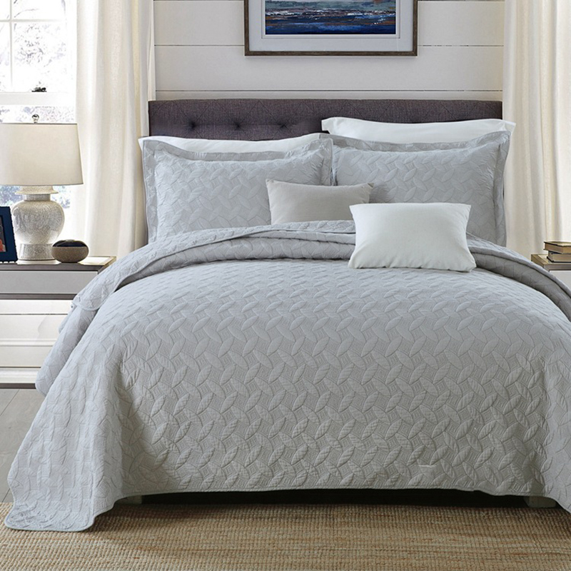 Chausub Gray Solid Quality Quilt Set 3pcs Washed Cotton
