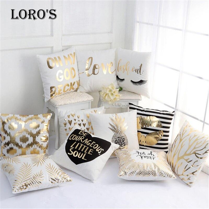 45 45 CM Gold Soft Bronzing Pillowcase Pillow Art Stripe Lips Eyelash Flannel Pillow Cushions Bedroom