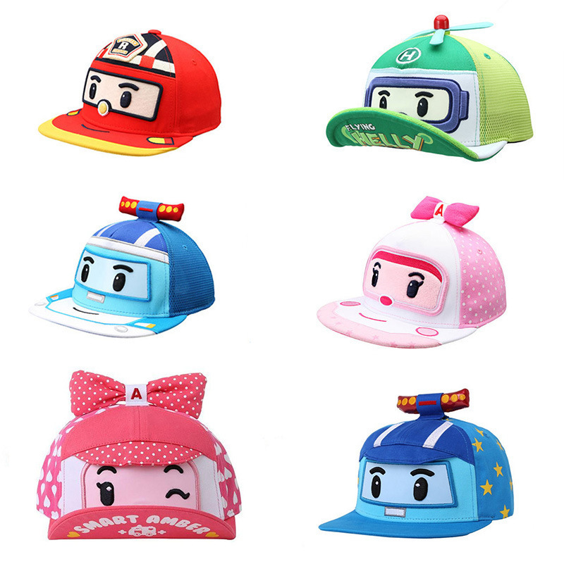 Robocar Poli Baseball Cap Snapback Hat Child Cartoon Pororo Robot Car Visor Hat Transformation Spring Summer Cap Kids Boy Girl