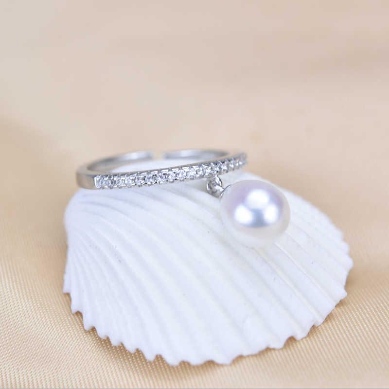 ZHBORUINI 2019 модное кольцо с жемчугом 925 стерлингового серебра ювелирные изделия для Женская циркониевая кольца в форме капли натуральный пресноводный жемчуг подарок
