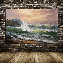 Fashion Style Handmade Abstract Landscape painting wall art Picture Handpainted Sea wave Oil Painting on Canvas home decoration