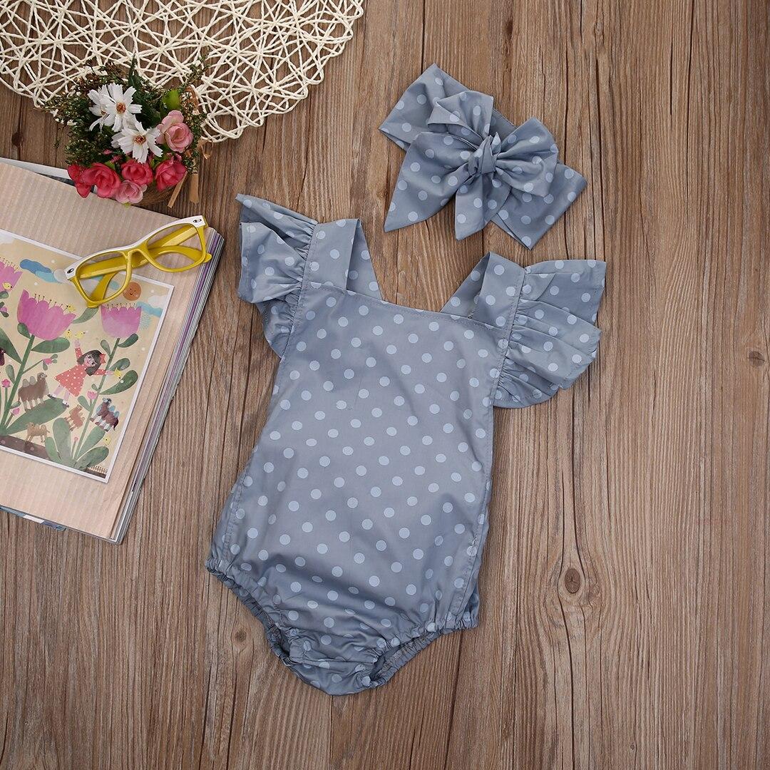 2018 Multitrust 2 Teile/satz Polka Dot Neugeborenen Baby Mädchen Kleidung Schmetterling Hülsenspielanzug Overall Sunsuit Sommer Outfits Ss
