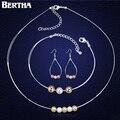 Новинка бусины жемчужные украшения с элементами Swarovski свадебные ну вечеринку ожерелье серьги браслет подарочные комплект